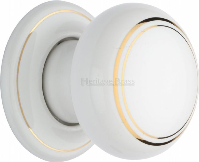 M Marcus Heritage Brass 6010PR White/Gold Line Porcelain Mortice Knob On Porcelain Rose